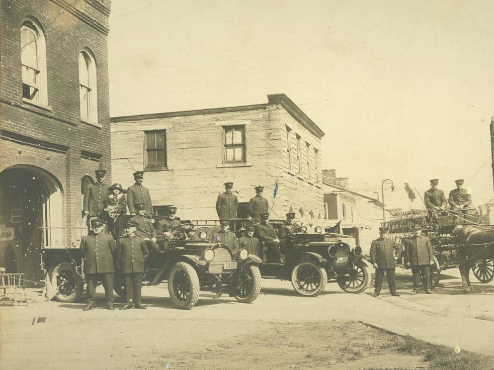 Historical photo of 2 horse drawn fire apparatus