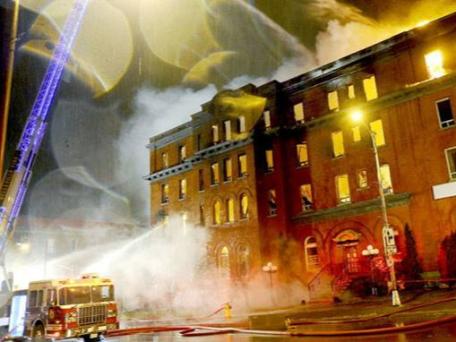 Quinte Hotel on fire