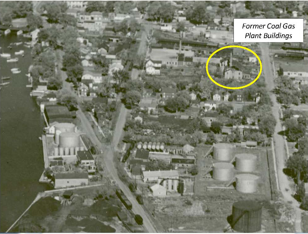 Former coal gas plant buildings. Excerpt from image HC0387A, Community Archives of Belleville and Hastings County, 1948-1950.