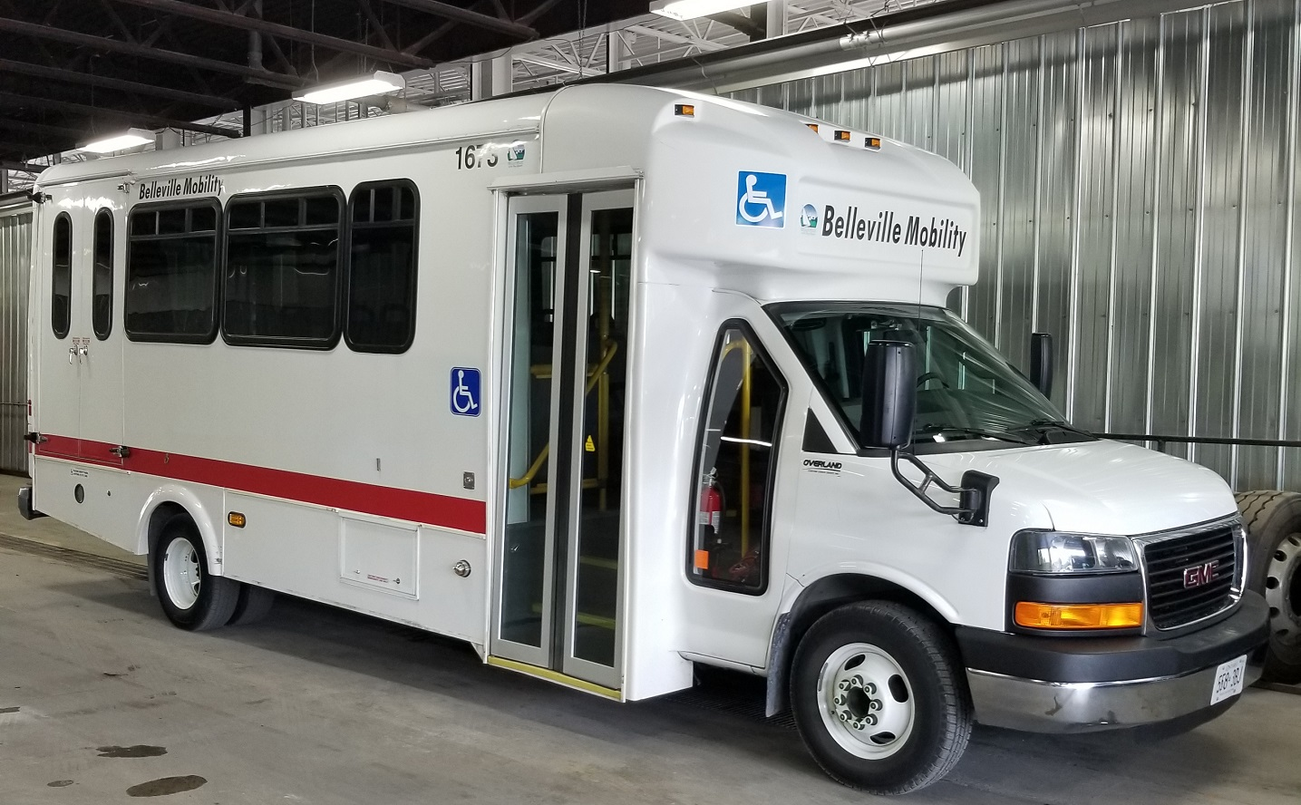 the mobility bus is a specialized transit vehicle that features standard front door boarding and rear boarding lift option. They are shorter than a conventional transit bus.