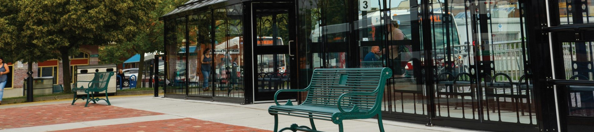 Cropped photo of transit terminal with benches